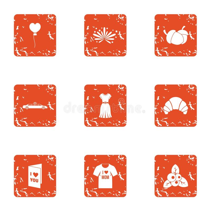 Lust icons set, grunge style stock illustration