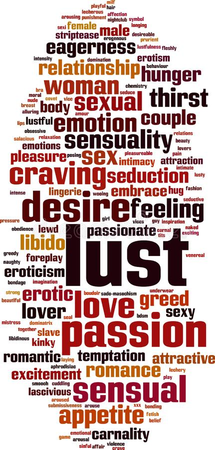 Lust word cloud royalty free illustration