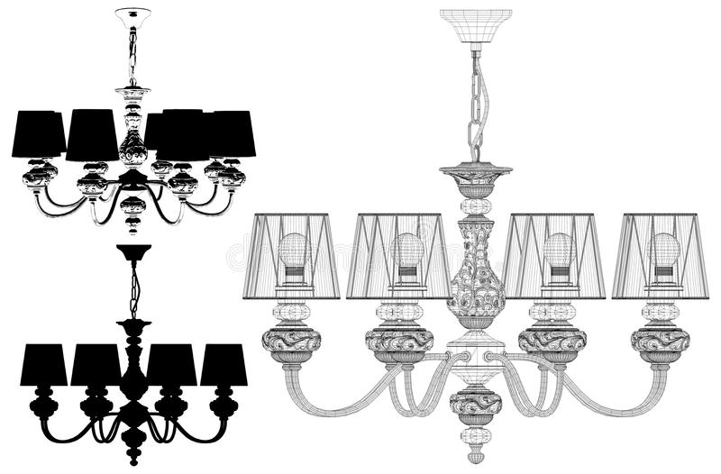Luster Chandelier Illustration Vector illustrazione di stock