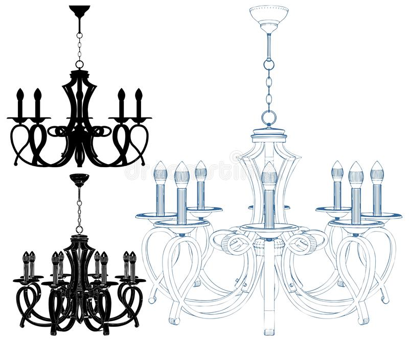 Luster Chandelier Isolated Illustration Vector royalty illustrazione gratis