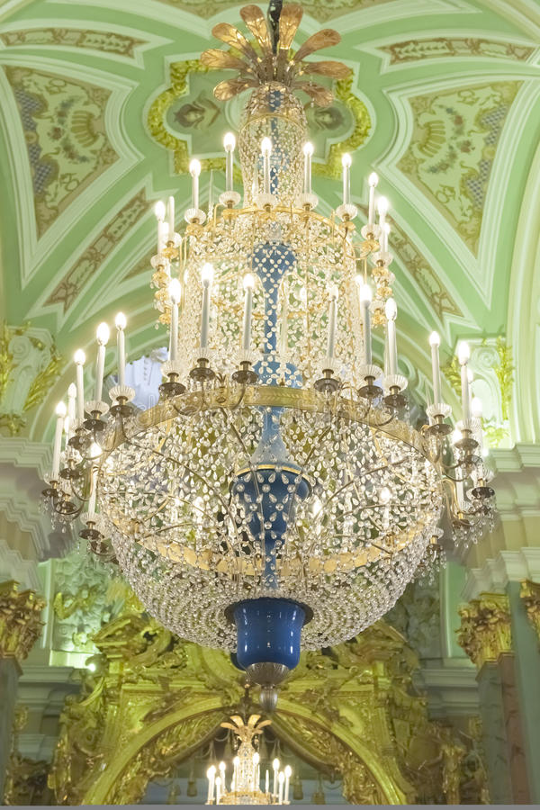 Luster in Peter and Paul Cathedral, St. Petersburg royalty free stock photo
