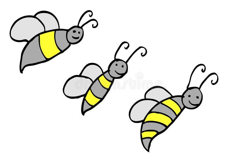 Lustige Biene des Gekritzels vektor abbildung