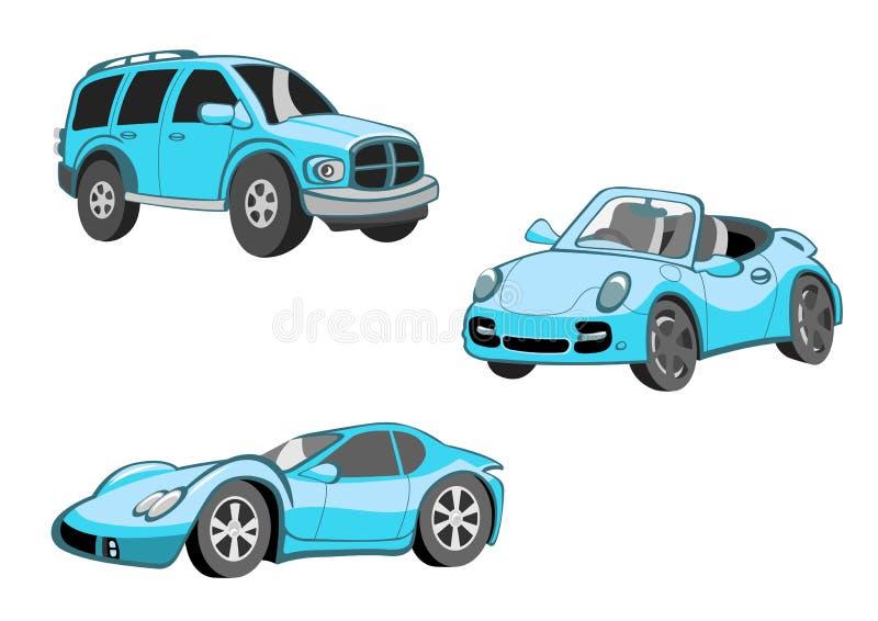 Lustige blaue Autos lizenzfreie abbildung