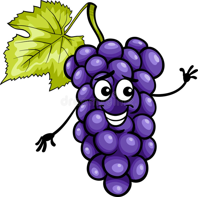 Lustige blaue Traubenfrucht-Karikaturillustration stock abbildung