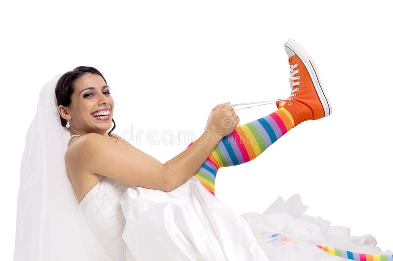 Lustige Brautschuhe stockbild
