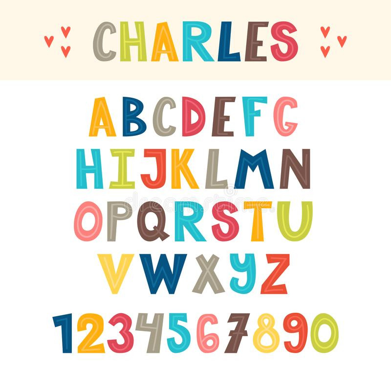 Lustige bunte Hand gezeichnetes englisches Alphabet Nette Buchstaben und Zahlen schriftkegel stock abbildung