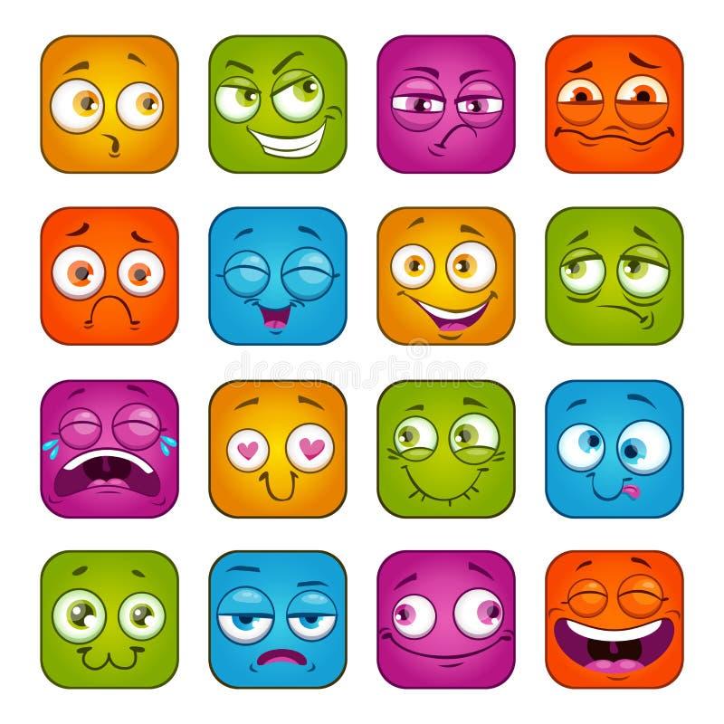 Lustige bunte quadratische Gesichter eingestellt stock abbildung