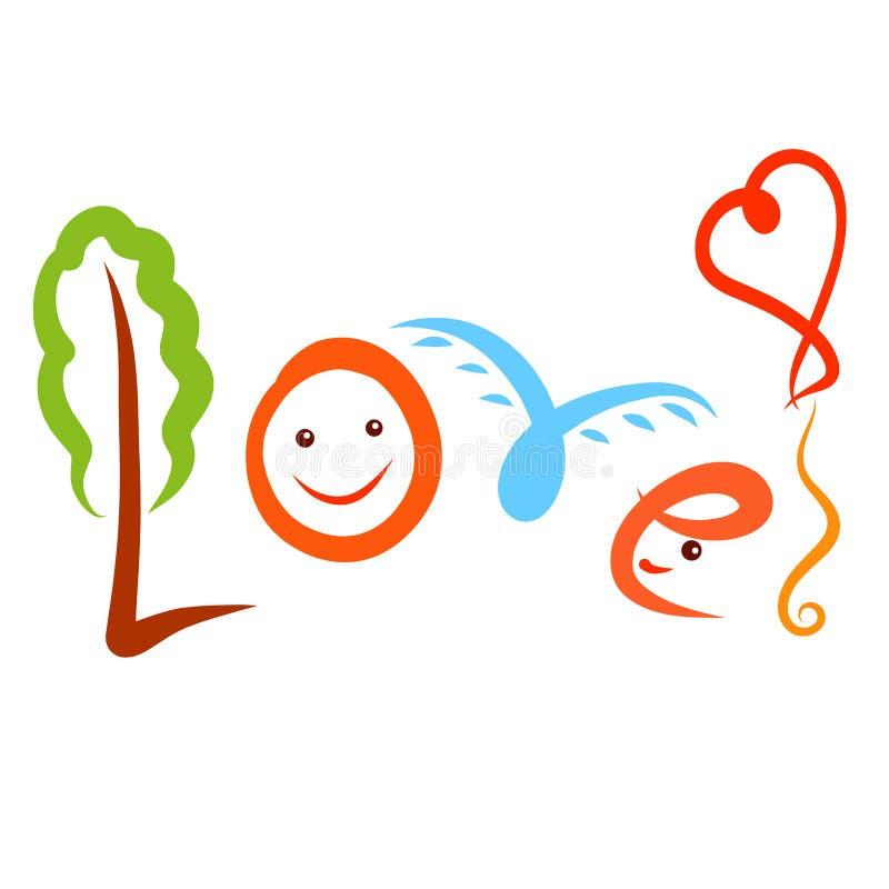 Lustige bunte Wort Liebe, mit einem Ausrufezeichen in Form eines Ballons stock abbildung