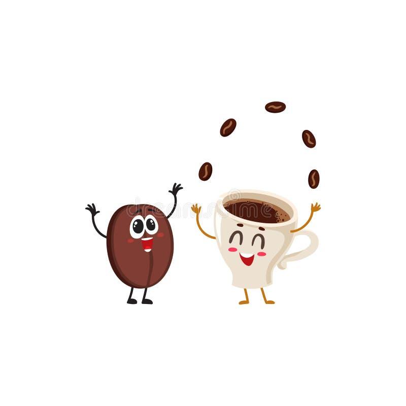 Lustige Charaktere der verrückten Kaffeebohne und der jonglierenden Espressoschale stock abbildung