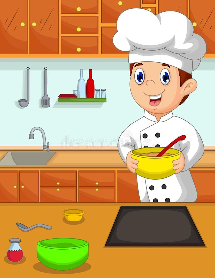 Lustige Chefkarikatur holen Schüssel in der Küche vektor abbildung