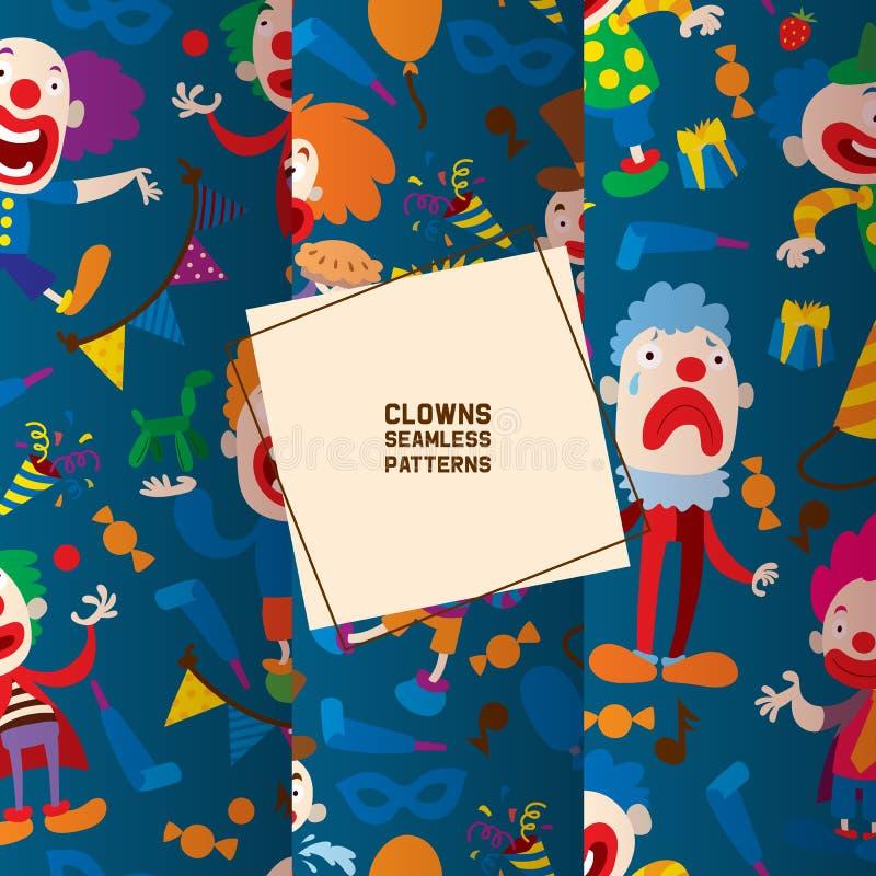 Lustige Clowncharaktere und nahtloses Muster der verschiedenen Zirkuszusätze Charakterkarikaturclown, -schauspieler und -spaßvoge vektor abbildung