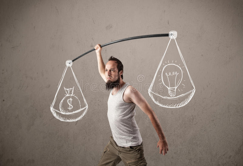 Lustige dünne Männer, die versuchen, ausgeglichen zu erhalten stockfotos