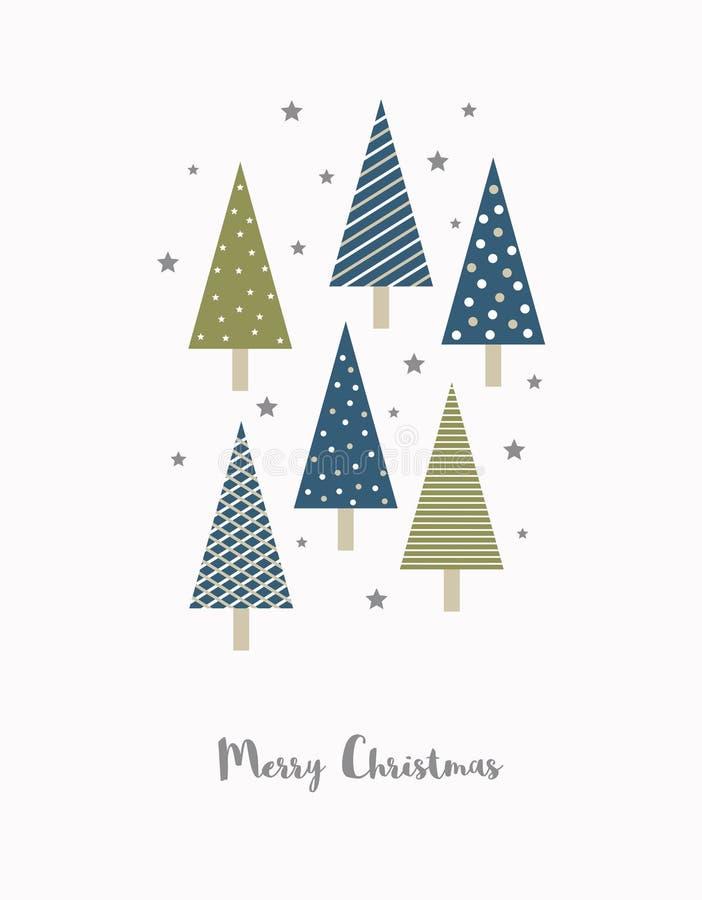Lustige einfache abstrakte Weihnachtsvektor-Karte Grüne und dunkelblaue Weihnachtsbäume lizenzfreie abbildung