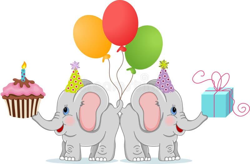 lustige elefanten des geburtstages vektor abbildung illustration von gl cklich geschenk 68650655. Black Bedroom Furniture Sets. Home Design Ideas