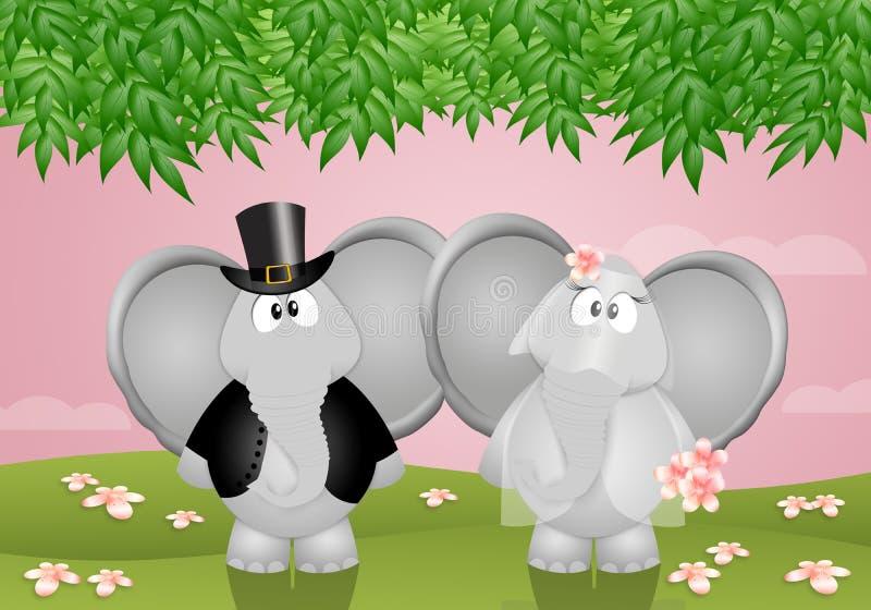 lustige elefanten geheiratet stock abbildung illustration von romantisch tiere 69376587. Black Bedroom Furniture Sets. Home Design Ideas