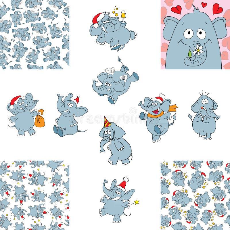 Lustige Elefanten und nahtlose Hintergründe lizenzfreie abbildung