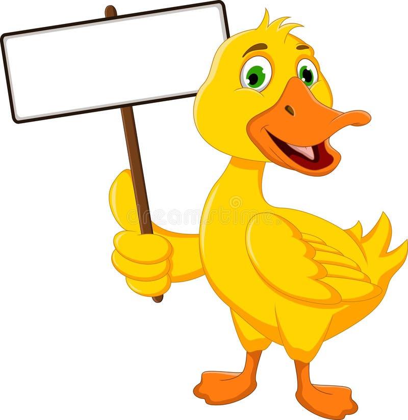 Lustige Entenkarikatur, die leeres Zeichen hält lizenzfreie abbildung