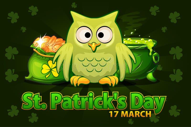 Lustige Eule der Karikatur, Geldtasche und Topf mit Zaubertrank Vektor-Illustration für glückliches St. Patrick Day glückliches n stock abbildung