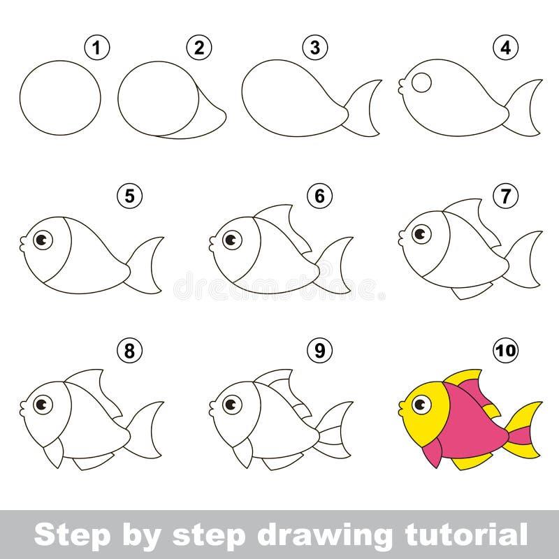 Lustige Fische Zeichnendes Tutorium lizenzfreie abbildung