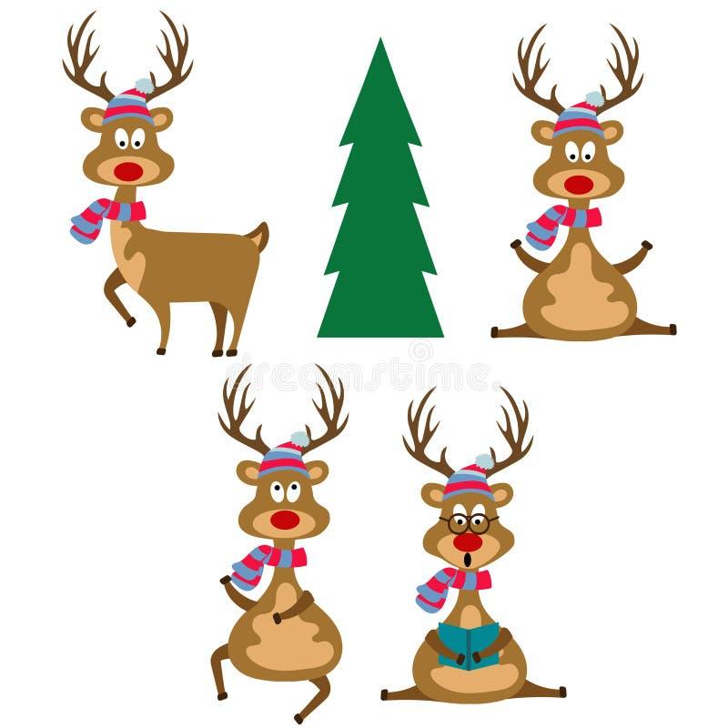 Lustige flache Entwurfsrene gekleidet für Weihnachten vektor abbildung