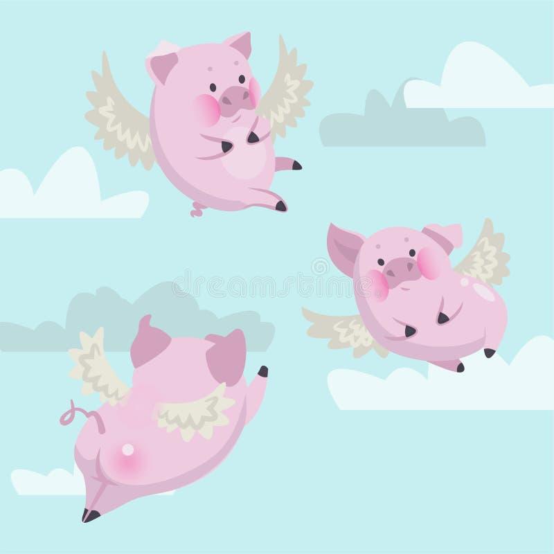 Lustige Fliegenrosaschweine gegen den Himmel lizenzfreie abbildung