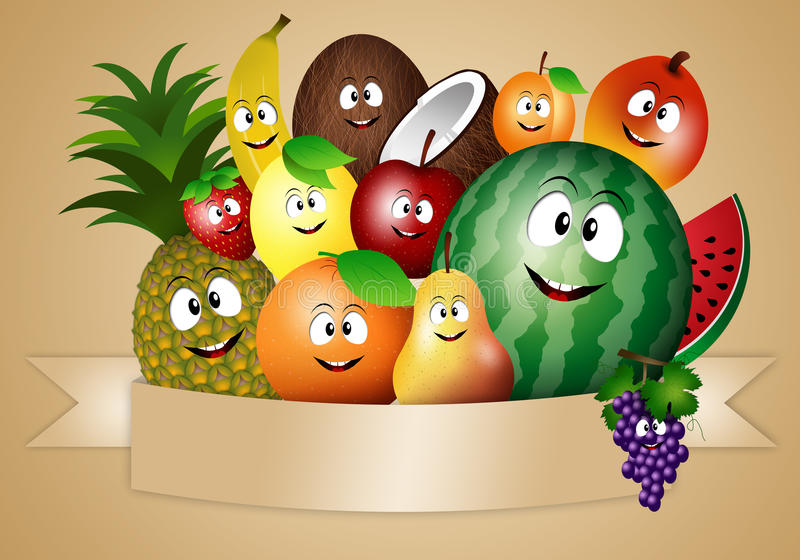 Lustige Früchte für Diät des strengen Vegetariers vektor abbildung