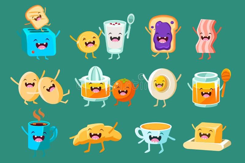 Lustige Frühstückscomicfiguren Pflasterstein, Lebensmittel zum Frühstück, Schnellimbissvektor Illustrationen lizenzfreie abbildung