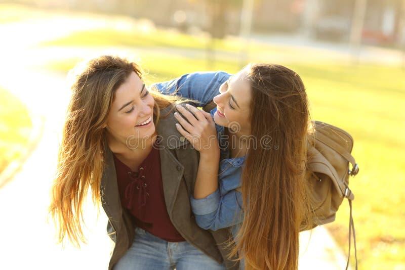 Lustige Freunde, die in der Stra?e bei Sonnenuntergang sich treffen lizenzfreies stockfoto