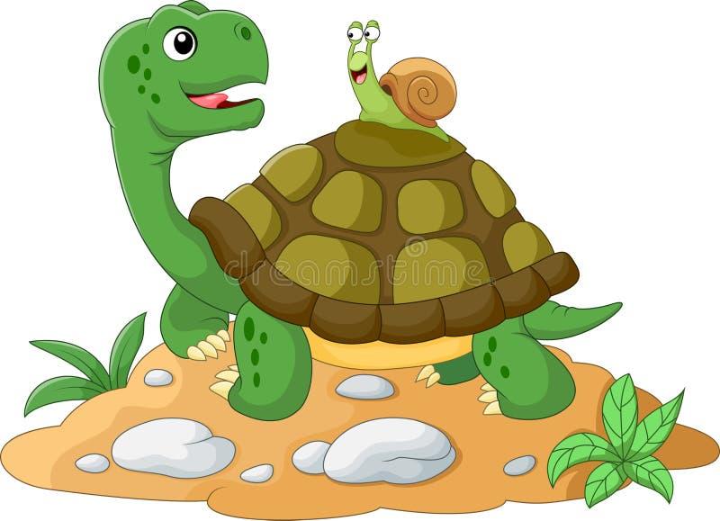 Lustige Gartenschnecke, die einen Aufzug auf einer Schildkröte zurücknimmt stock abbildung