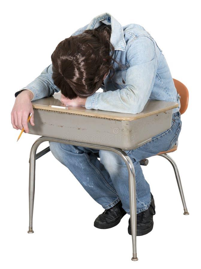 Lustige gebohrte Highschool, Student getrennt stockbild