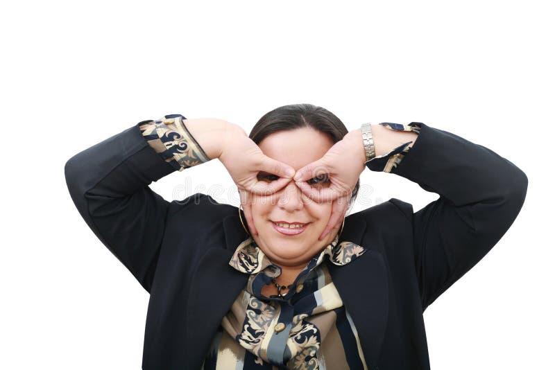 Lustige Geschäftsfrau, mit großen Augen lizenzfreies stockfoto