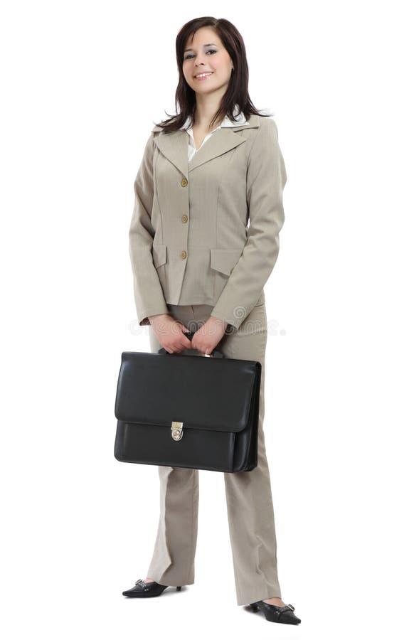Lustige Geschäftsfrau mit sehr großem Aktenkoffer lizenzfreie stockbilder