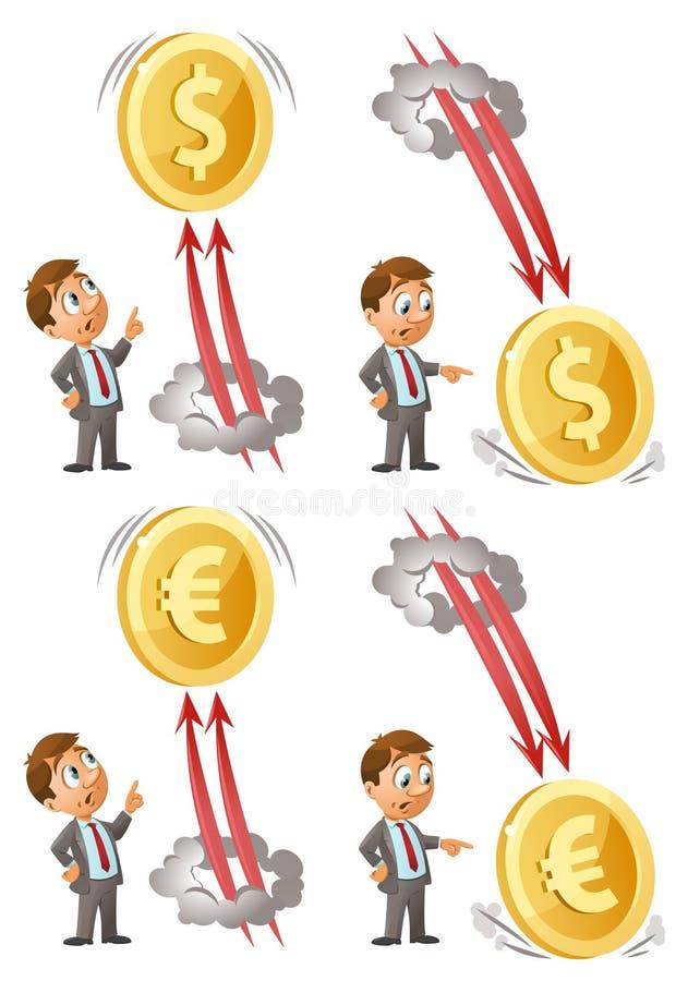 Lustige Geschäftsmannuhren als Dollar und Euro steigt oben an und fällt unten stock abbildung