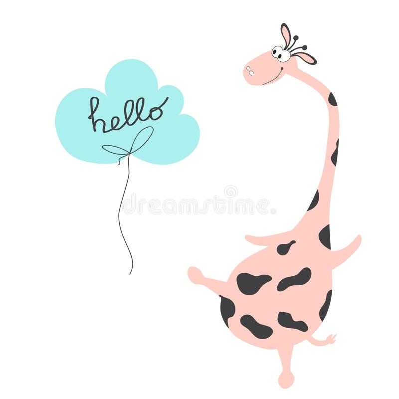 Lustige Giraffe der Postkarte mit der Phrase hallo Skizze hallo vektor abbildung