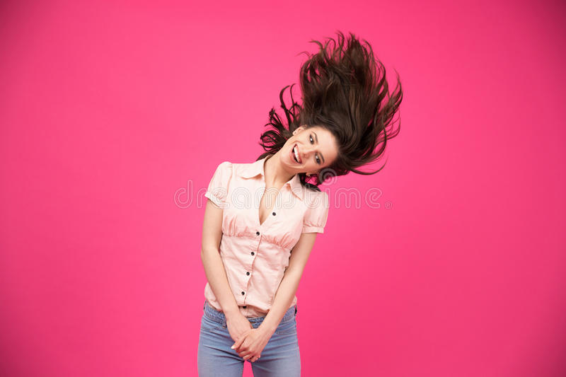 Lustige glückliche Frau stockfoto