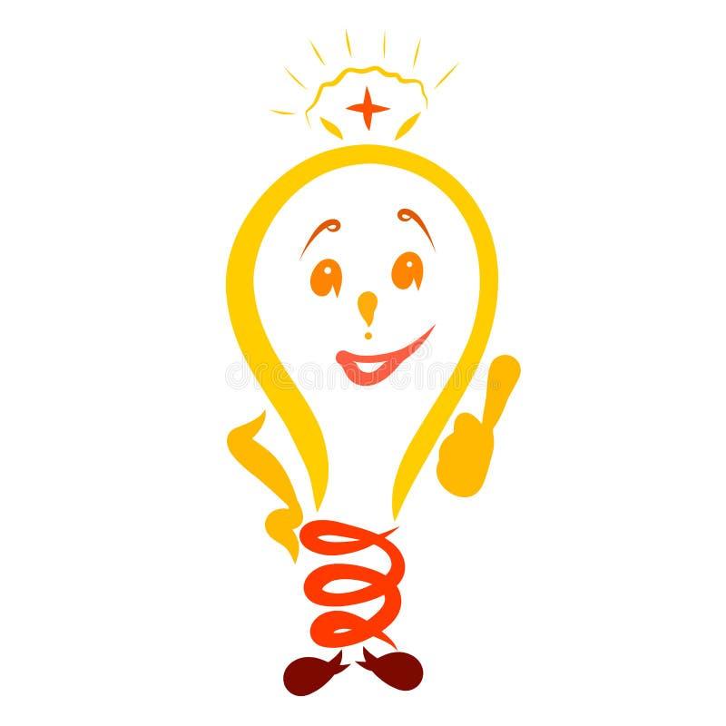 Lustige Glühlampe mit einem Gesicht, Doktor reich an Hilfsquellen lizenzfreie abbildung