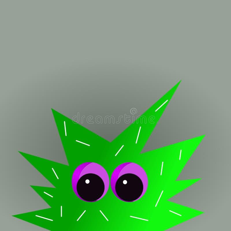 Lustige grüne Monstermaskottchenkarikatur lizenzfreie abbildung