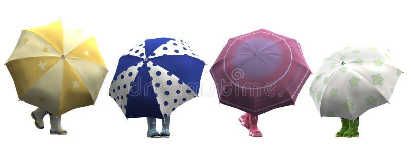 Lustige Gummischuhe mit Regenschirmen vektor abbildung
