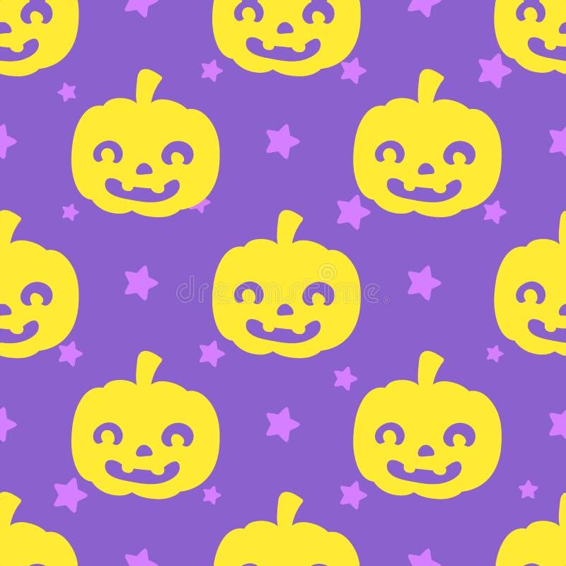 Lustige Halloween-Kürbise auf purpurrotem Hintergrund mit Sternchen-Vereinbarung vektor abbildung