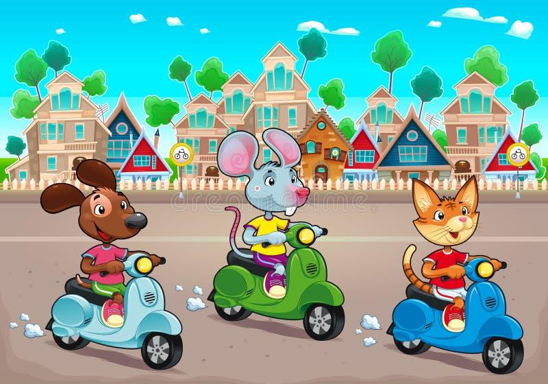 Lustige Haustiere reiten Roller in der Stadt lizenzfreie abbildung
