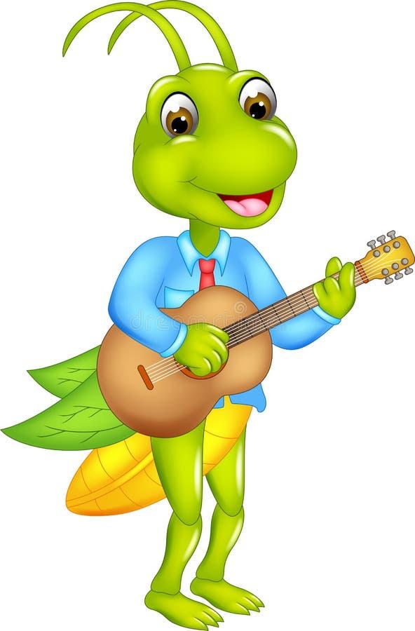 Lustige Heuschreckenkarikatur, die mit dem Spielen der Gitarre und des Lächelns steht lizenzfreie abbildung