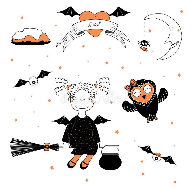 Lustige Hexen- und Eulenillustration stock abbildung