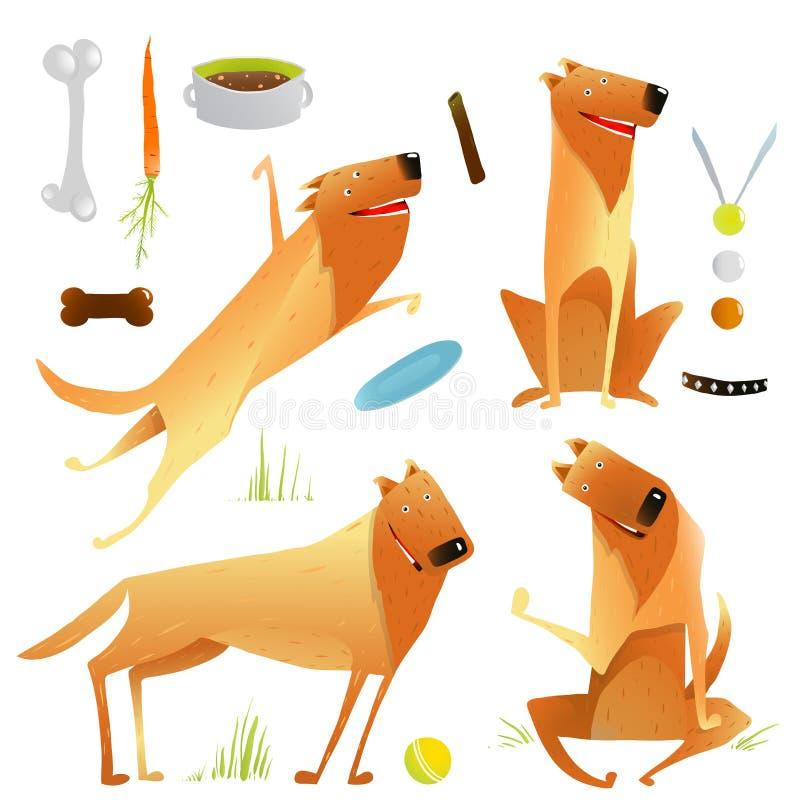 Lustige Hunde, die das Spielen mit Ball-Sitzen springen lizenzfreie abbildung