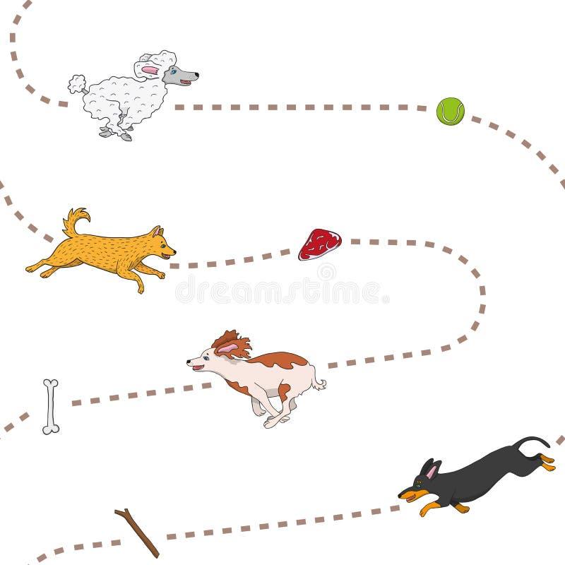 Lustige Hunde, die Einzelteilmuster jagen stock abbildung