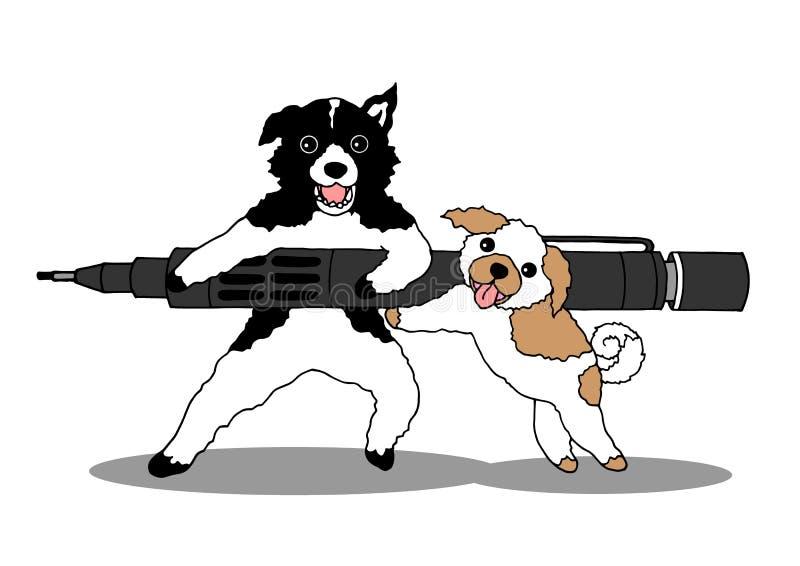 Lustige Hunde, die mit großem Bleistift, Vektorillustrationshand gezeichnet schreiben stock abbildung