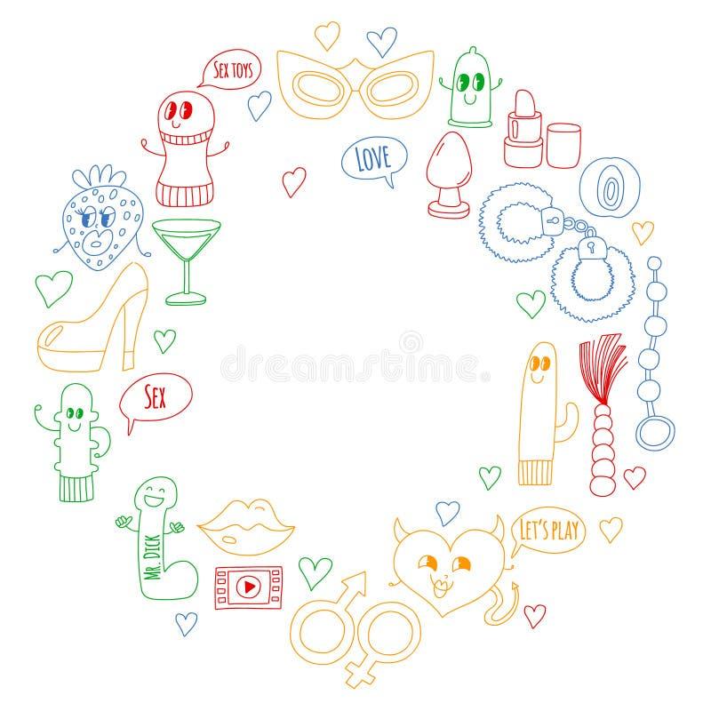 Lustige Ikonen für Sexshop Nette Zeichentrickfilm-Figuren Dildo, Erdbeere, Kondom, Herz Liebe und Spiel stock abbildung
