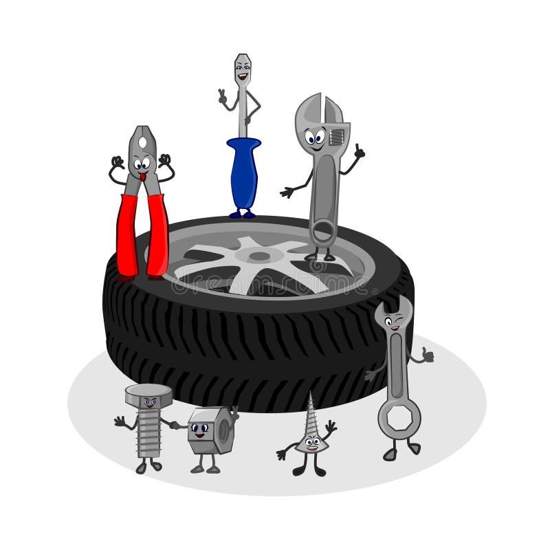 Lustige Illustration der Vektorkarikatur des Selbstservices stock abbildung