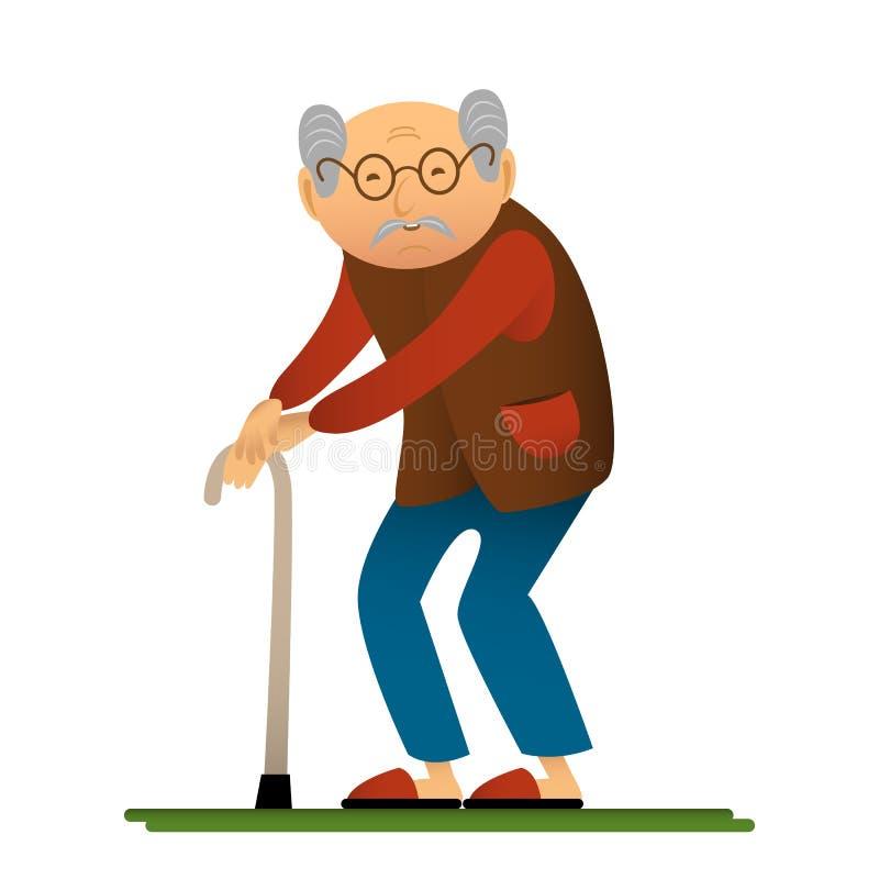Lustige Illustration des alten Mannes mit Stock, Zeichentrickfilm-Figur vektor abbildung