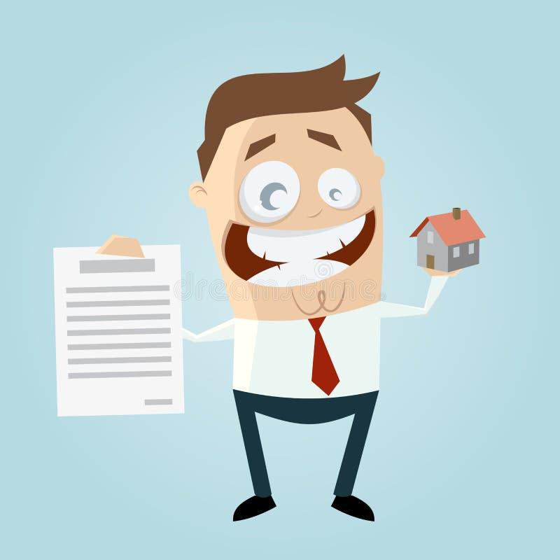 Lustige Immobilienagentur mit Haus und Vertrag stock abbildung