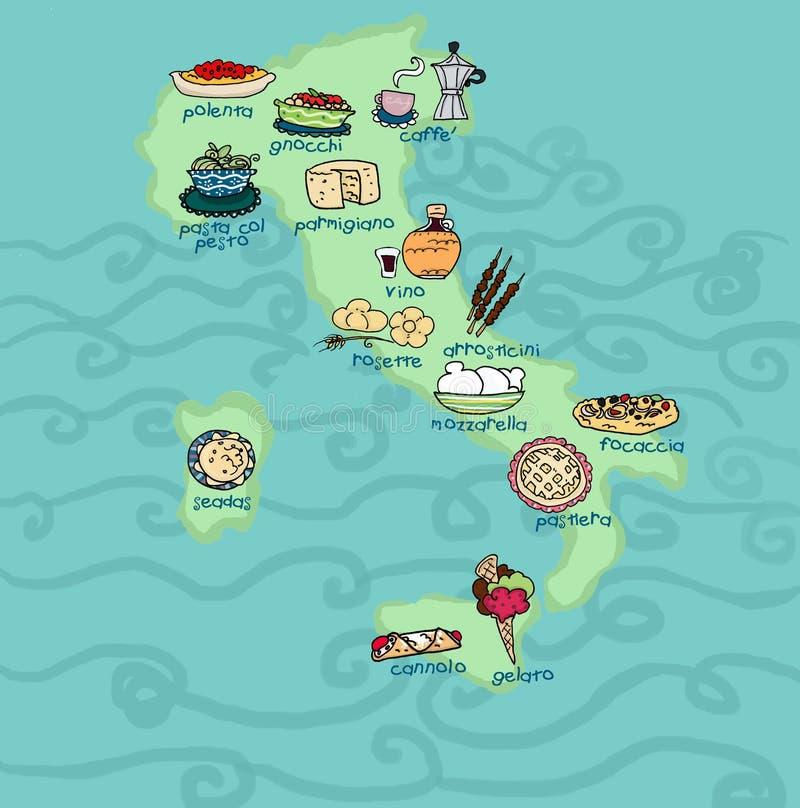 Lustige Italien-Nahrungsmittelkarte lizenzfreie abbildung
